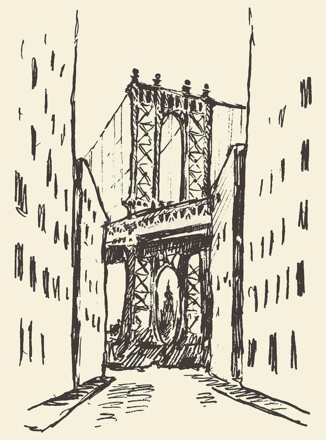 Esboço do Estados Unidos de New York da ponte de Manhattan ilustração stock