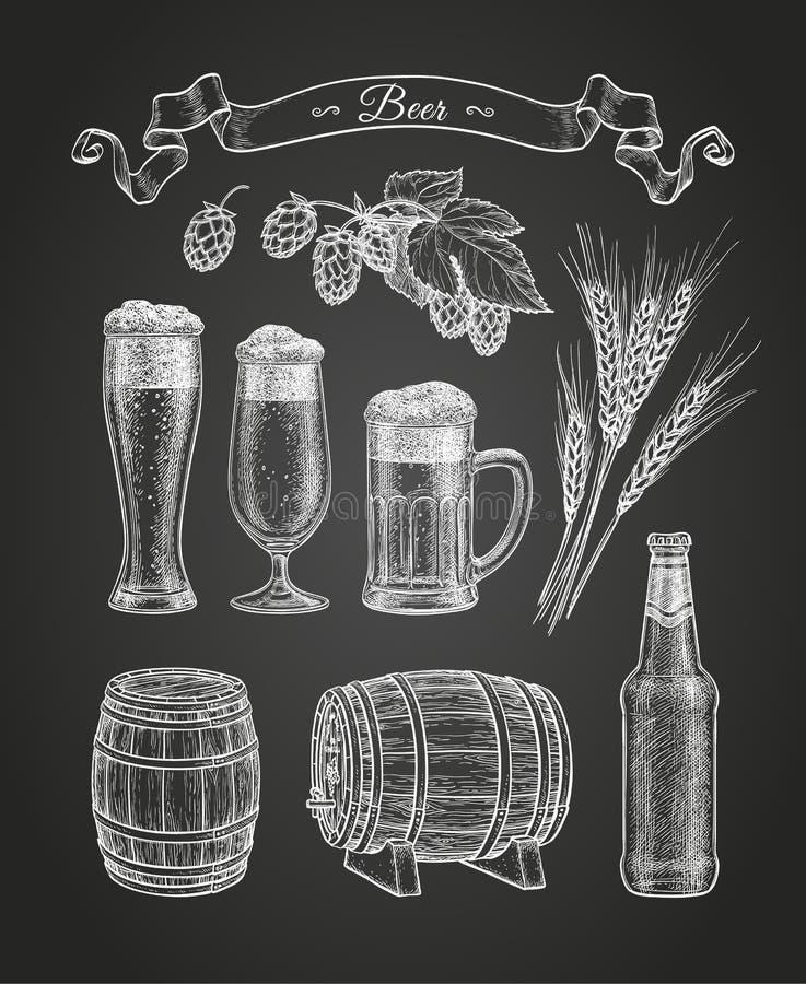 Esboço do giz da cerveja ilustração stock
