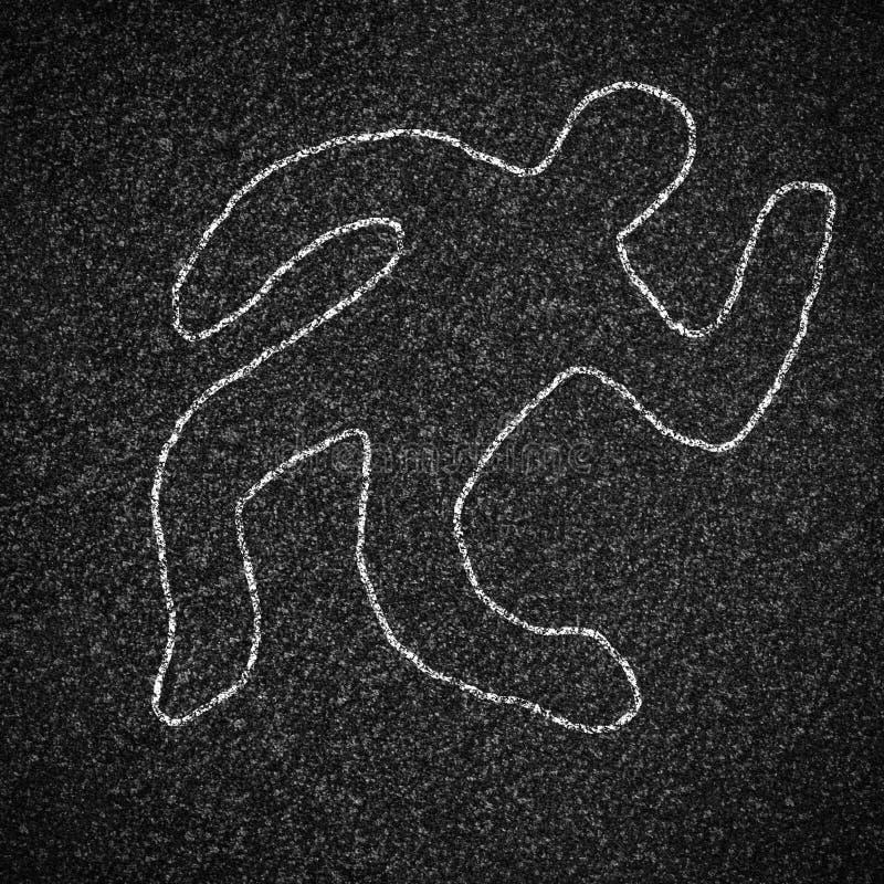 Esboço do giz do corpo no asfalto ilustração royalty free