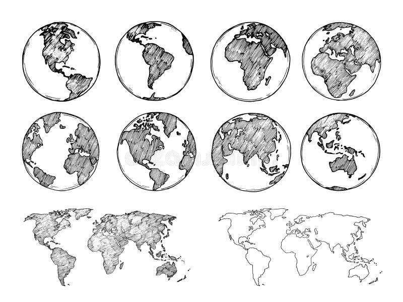 Esboço do globo Entregue o planeta tirado da terra com continentes e oceanos Ilustração do vetor do mapa do mundo da garatuja ilustração royalty free