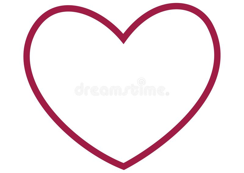 Esboço do grande coração vermelho ilustração do vetor
