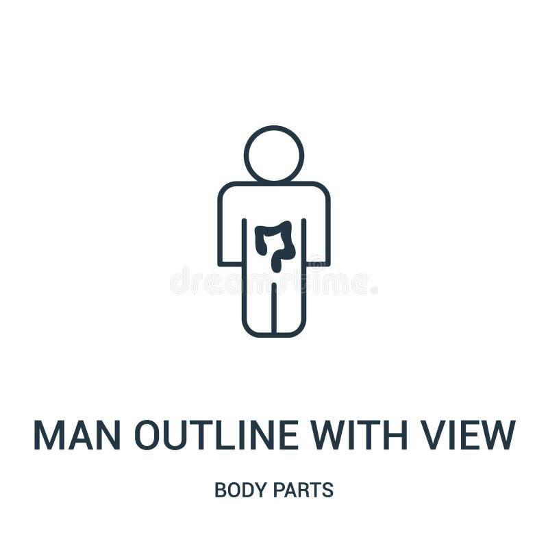esboço do homem com ideia do vetor do ícone do intestino da coleção das partes do corpo Linha fina esboço do homem com vista do i ilustração do vetor