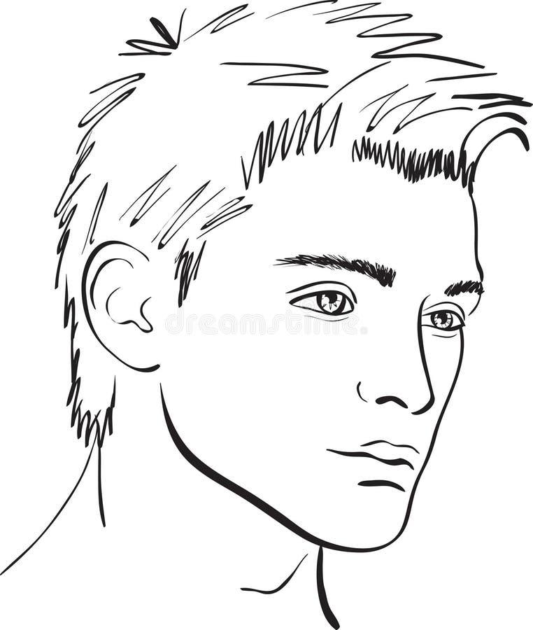 Esboço do homem da face do vetor. elemento do projeto ilustração stock
