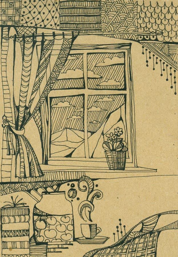 Esboço do interior com a janela com cortinas Ainda vida 1 ilustração royalty free