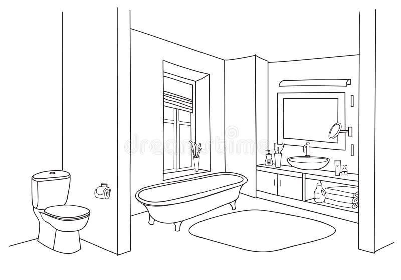 Esboço do interior do banheiro Opinião da sala, mobília tirada garatuja do banho ilustração stock