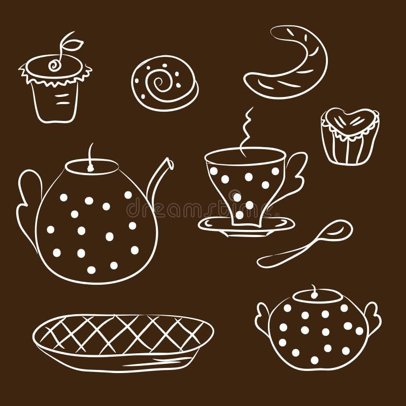 Esboço do jogo de chá ilustração royalty free