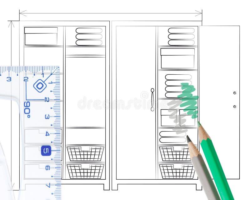 Esboço do lápis de um wardrobe aberto ilustração stock