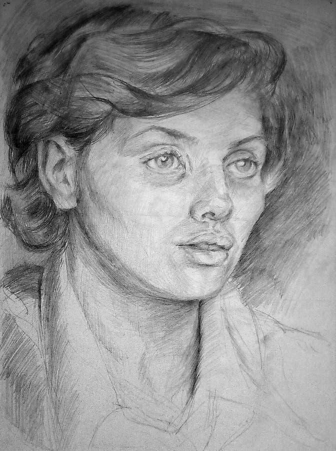 Esboço do lápis de uma cabeça fêmea no Livro Branco Retrato com a face surpreendida e receosa imagens de stock royalty free