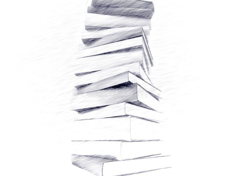 Esboço do lápis dos livros ilustração do vetor