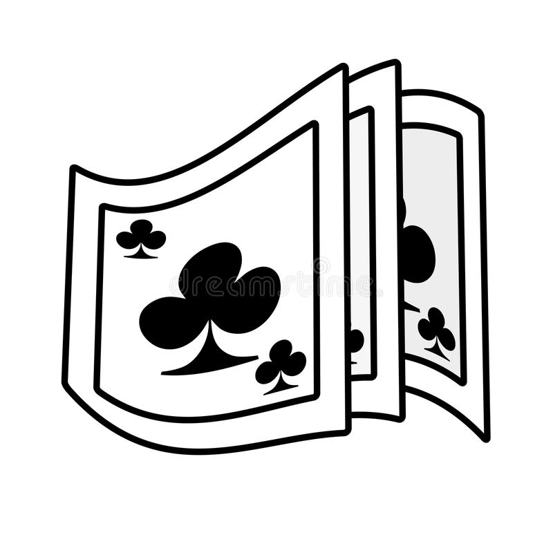 Esboço do mágico do cartão de jogo do pôquer ilustração stock