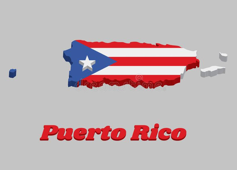 esboço do mapa 3d de Porto Rico, de faixas brancas e vermelhas horizontais com o triângulo isósceles baseado no lado da grua e ilustração royalty free