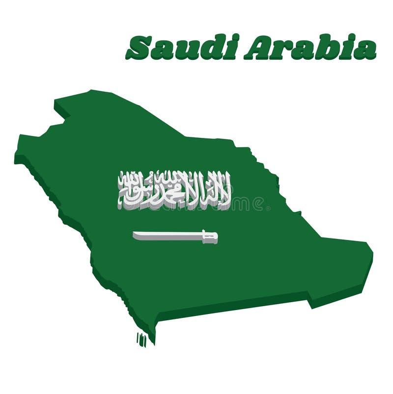 esboço do mapa 3d e bandeira de Arábia Saudita, de um campo verde com o Shahada ou do credo muçulmano escrito no roteiro de Thulu ilustração do vetor