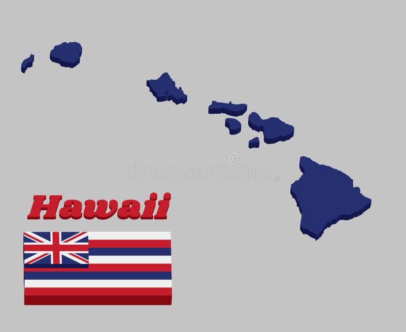 esboço do mapa 3D e bandeira de Havaí, oito listras horizontais alternas de vermelho e azul brancos, com uma bandeira de união no ilustração royalty free