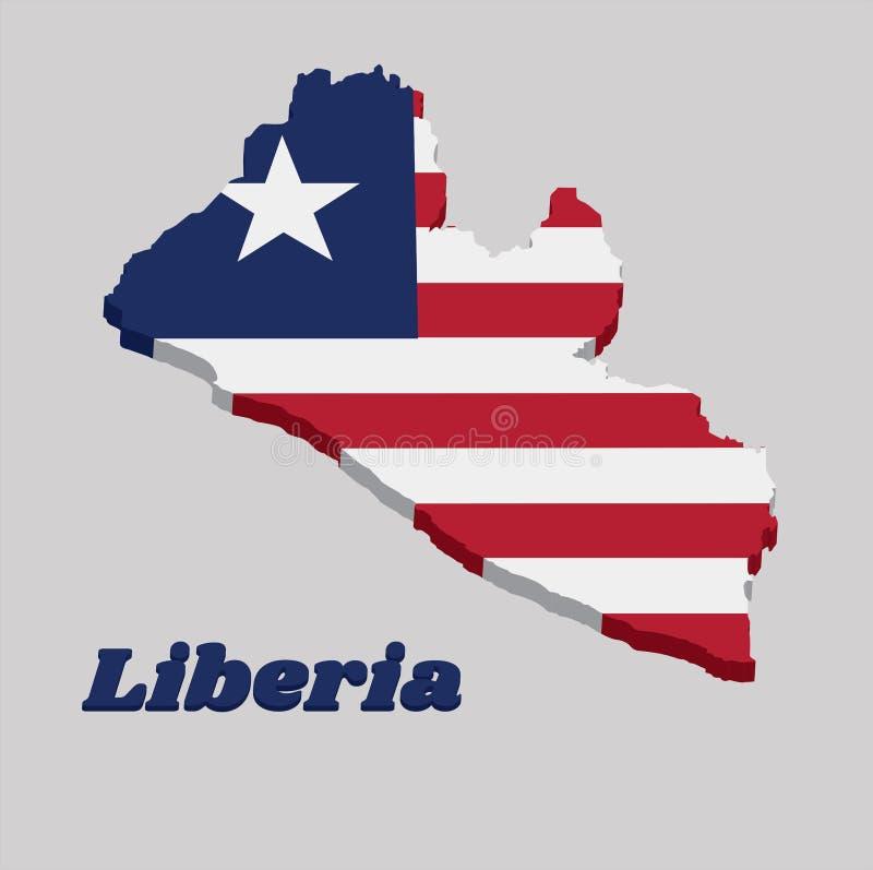 esboço do mapa 3D e bandeira de Libéria, alternar horizontal de onze listras vermelho e branco; no cantão, uma estrela branca em  ilustração stock