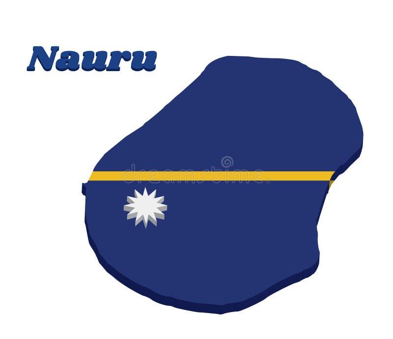 esboço do mapa 3D e bandeira de Nauru, de um campo azul com a listra horizontal estreita amarela fina transversalmente no centro  ilustração stock