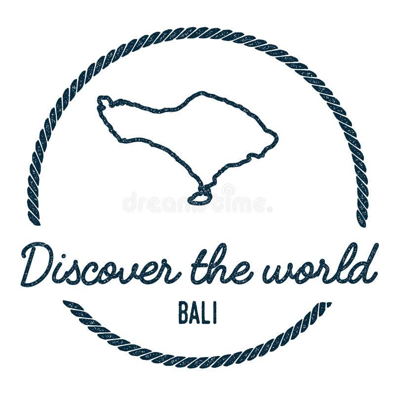 Esboço do mapa de Bali O vintage descobre o mundo ilustração stock