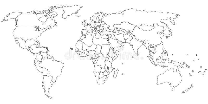 Esboço do mapa do mundo ilustração stock