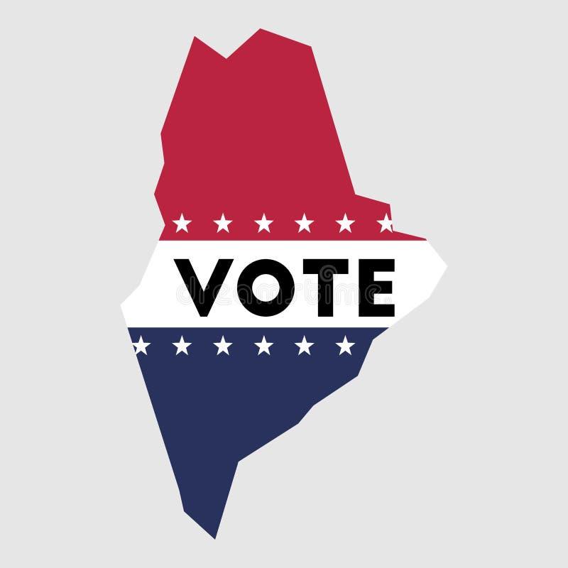 Esboço do mapa do estado de Maine do voto ilustração stock