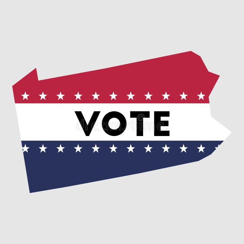 Esboço do mapa do estado de Pensilvânia do voto ilustração stock