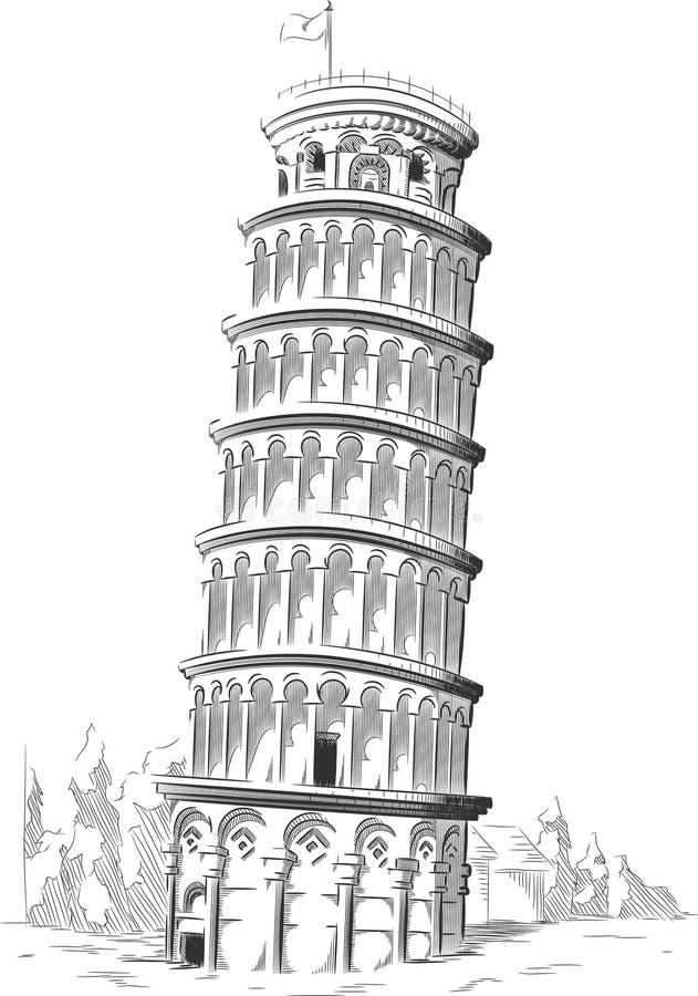 Esboço do marco de Itália - torre de Pisa ilustração stock