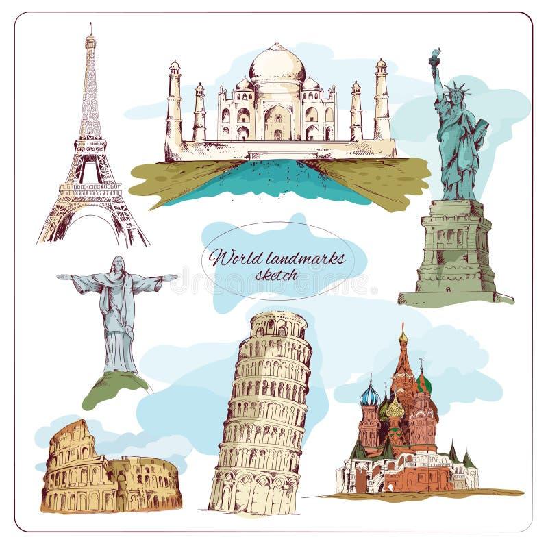 Esboço do marco do mundo colorido ilustração stock