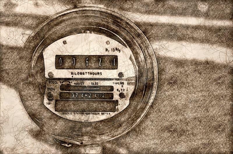 Esboço do medidor elétrico que indica o consumo de potência atual ilustração stock