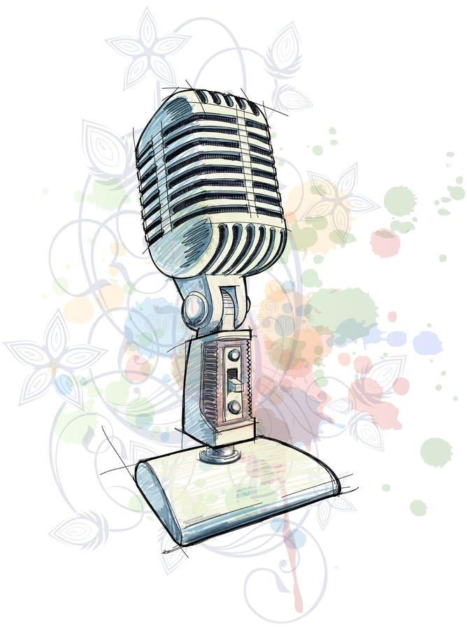 Esboço do microfone do vintage & ornamento floral ilustração do vetor