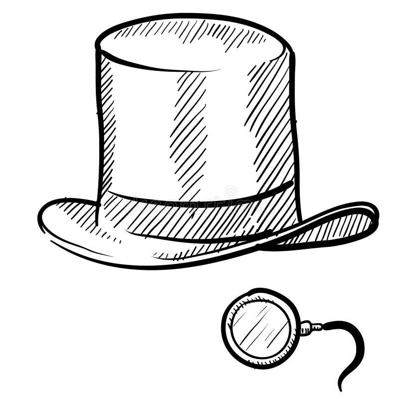 Esboço do Monocle e do chapéu superior ilustração royalty free