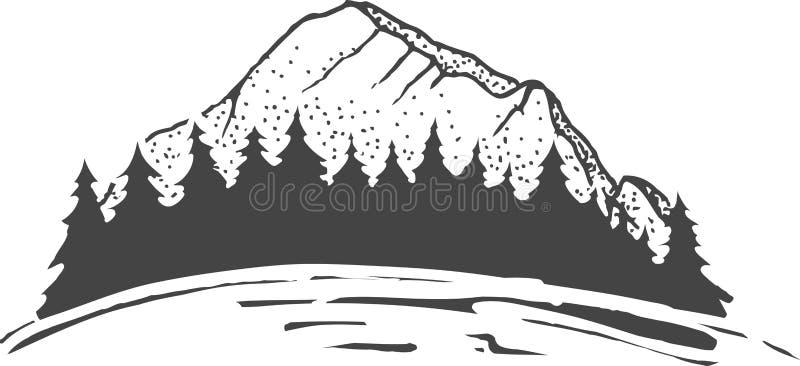 Esboço do montanhas com floresta do abeto, gravando o estilo, ilustração tirada mão do vetor ilustração royalty free
