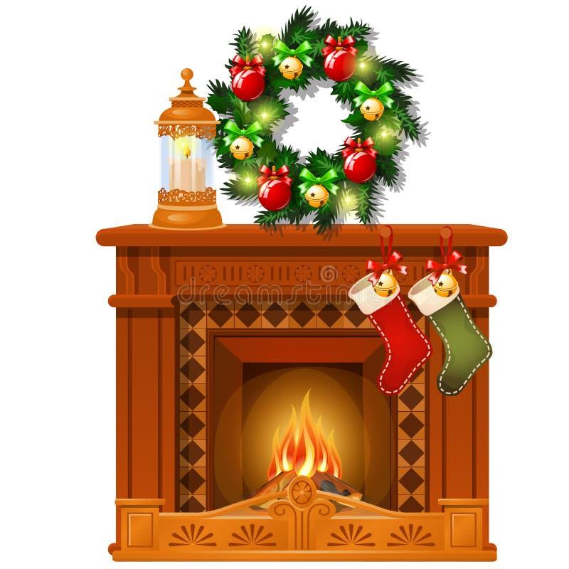 Esboço do Natal com chaminé e decorações, bolas de vidro e quinquilharias Esboço para o cartão, cartaz festivo ilustração stock