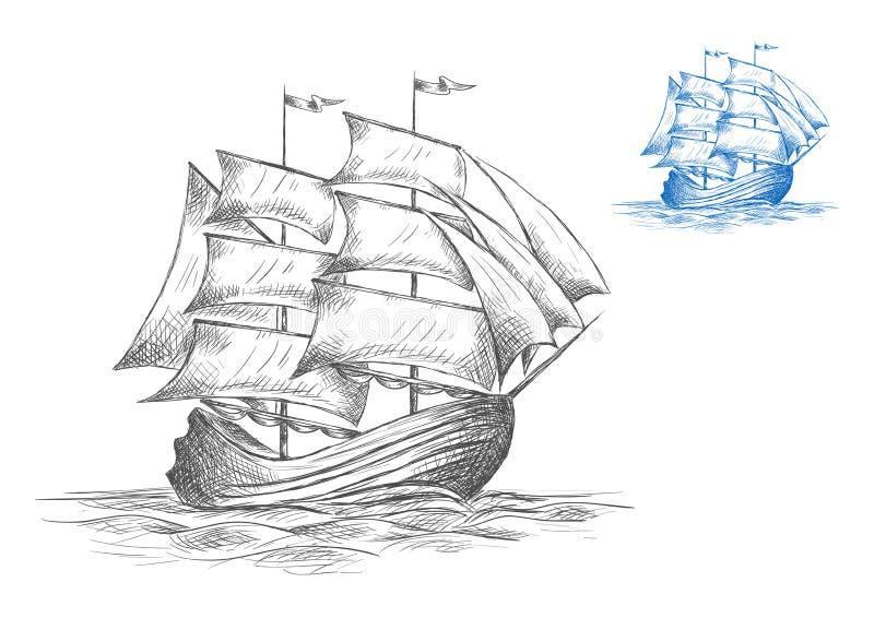 Esboço do navio de navigação sob a vela completa ilustração royalty free