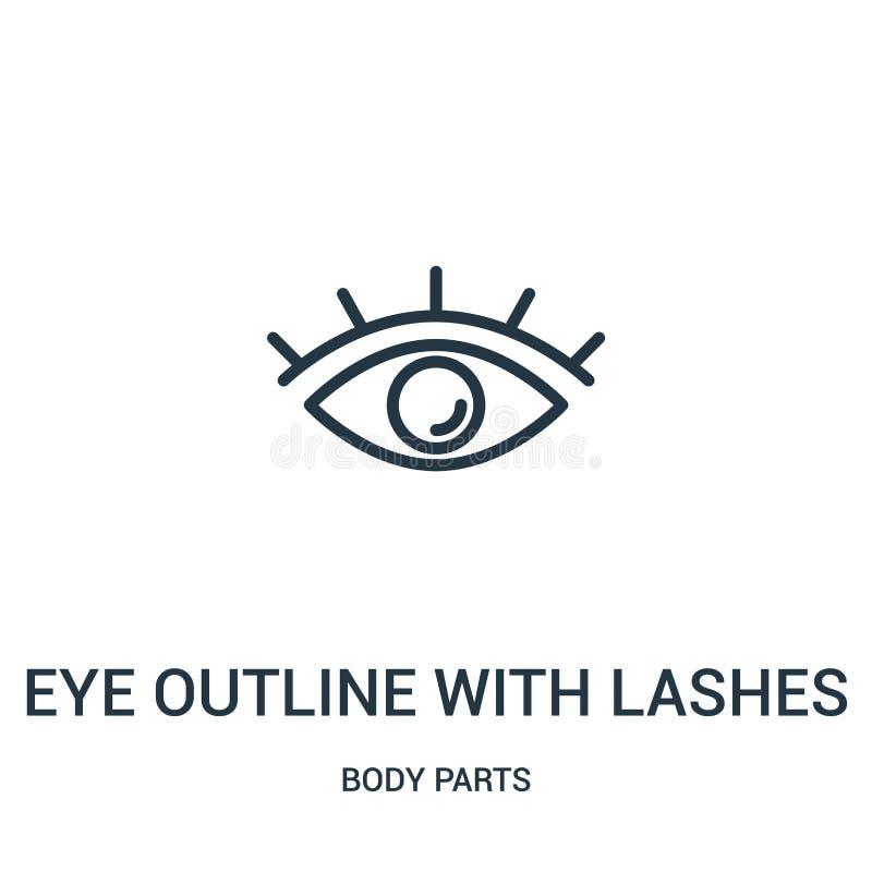 esboço do olho com vetor do ícone dos chicotes da coleção das partes do corpo Linha fina esboço do olho com ilustração do vetor d ilustração stock