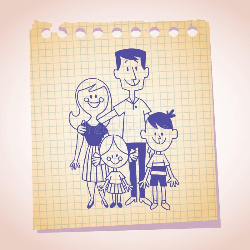 Esboço do papel de nota da família de quatro pessoas ilustração stock