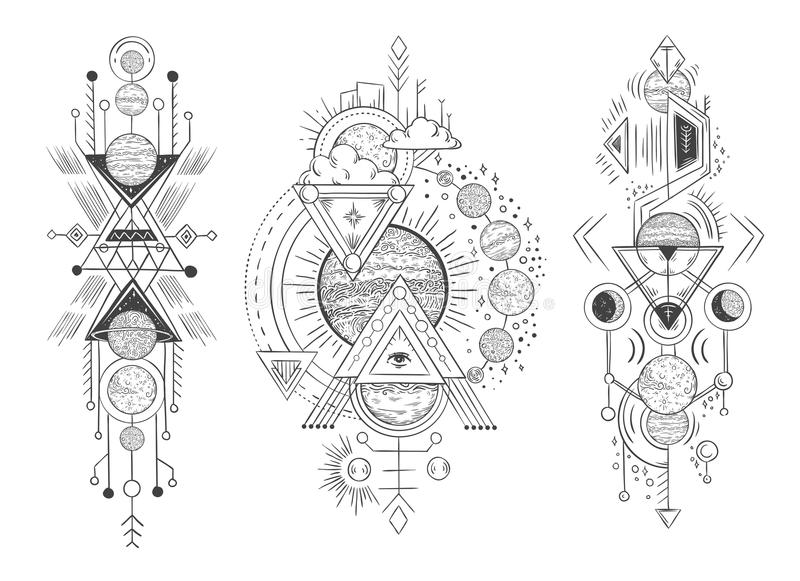 Esboço do planeta do sistema solar Parada dos planetas, das fases da lua e da astrologia tirada mão Vetor astrológico da tatuagem ilustração stock