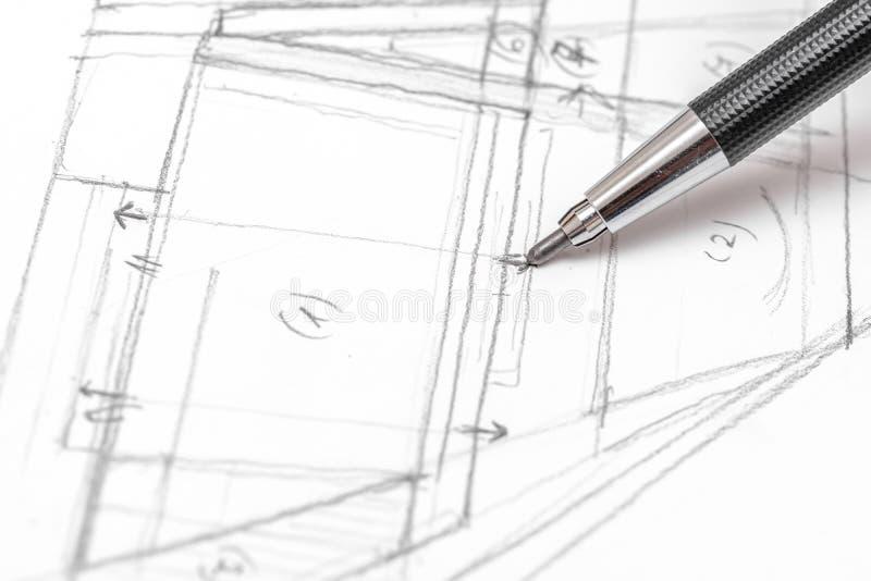 Esboço do plano de Hand Drawing House do arquiteto imagem de stock