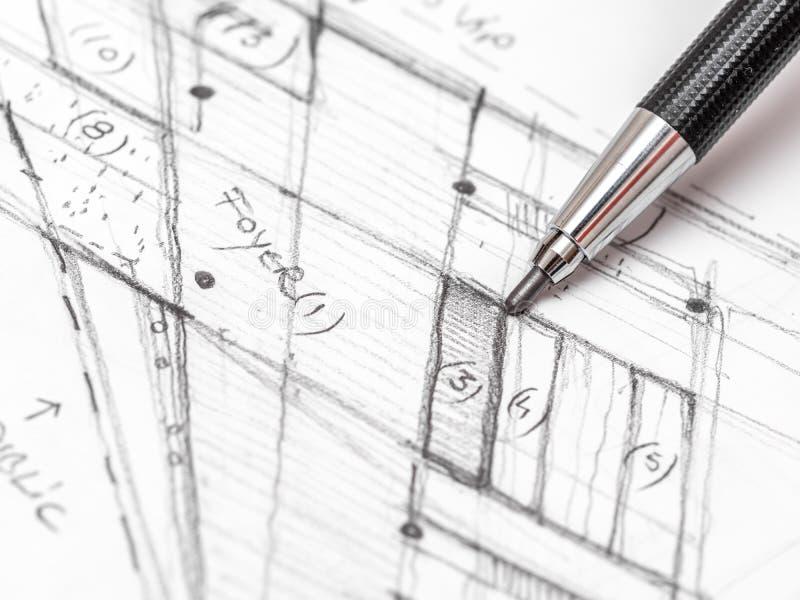 Esboço do plano de Hand Drawing House do arquiteto fotos de stock royalty free