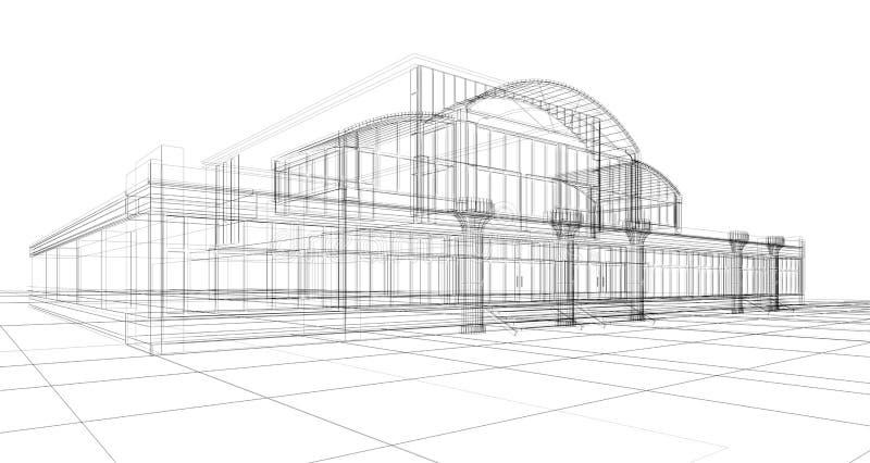 Esboço do prédio de escritórios ilustração do vetor