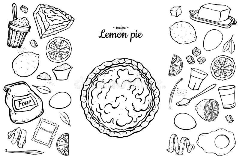 Esboço do preto da torta do limão ilustração royalty free