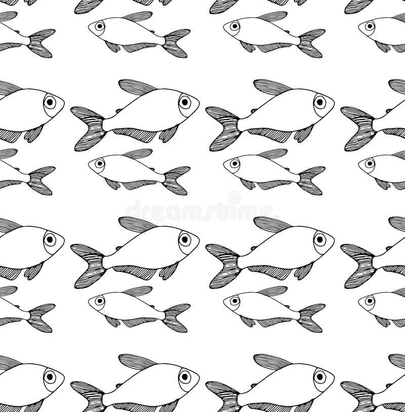Esboço do preto do teste padrão dos peixes ilustração do vetor