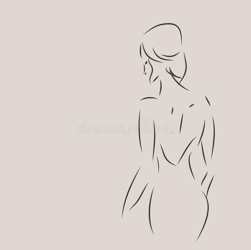 Esboço do projeto da forma de uma mulher ilustração do vetor