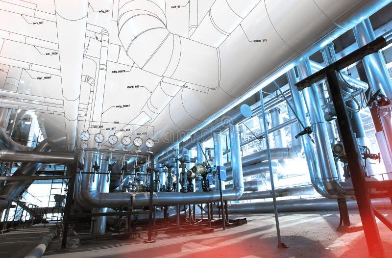 Esboço do projeto do encanamento com as fotos do equipamento industrial imagem de stock royalty free