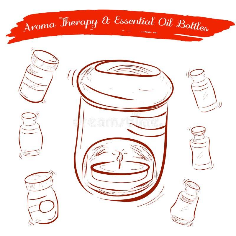 Esboço do queimador de óleo da terapia do aroma e das garrafas de óleo essencial ilustração do vetor