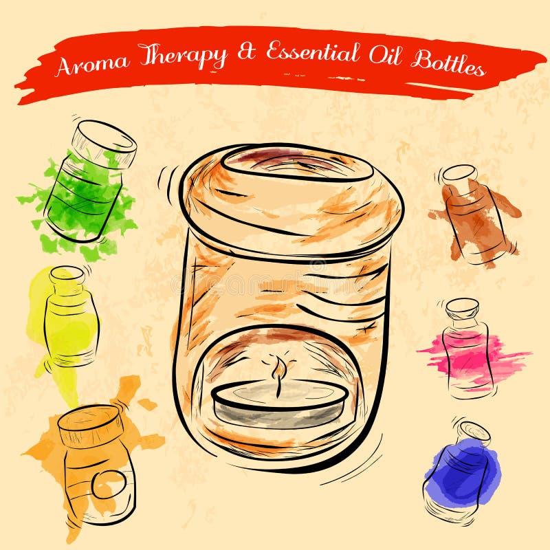 Esboço do queimador de óleo da terapia do aroma e das garrafas de óleo essencial com efeito da cor de água ilustração stock
