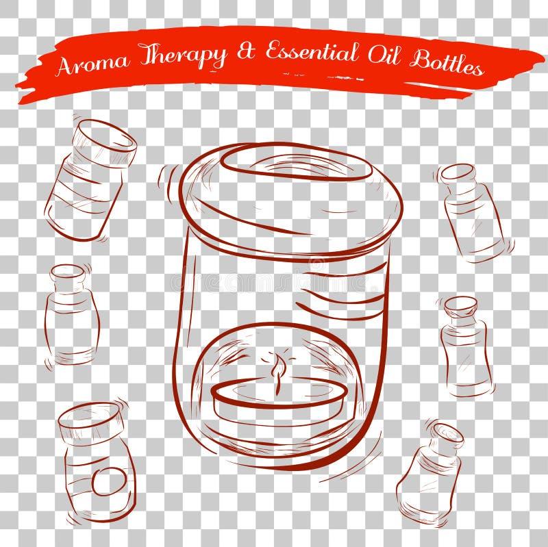 Esboço do queimador de óleo da terapia do aroma e das garrafas de óleo essencial, no fundo transparente do efeito ilustração do vetor