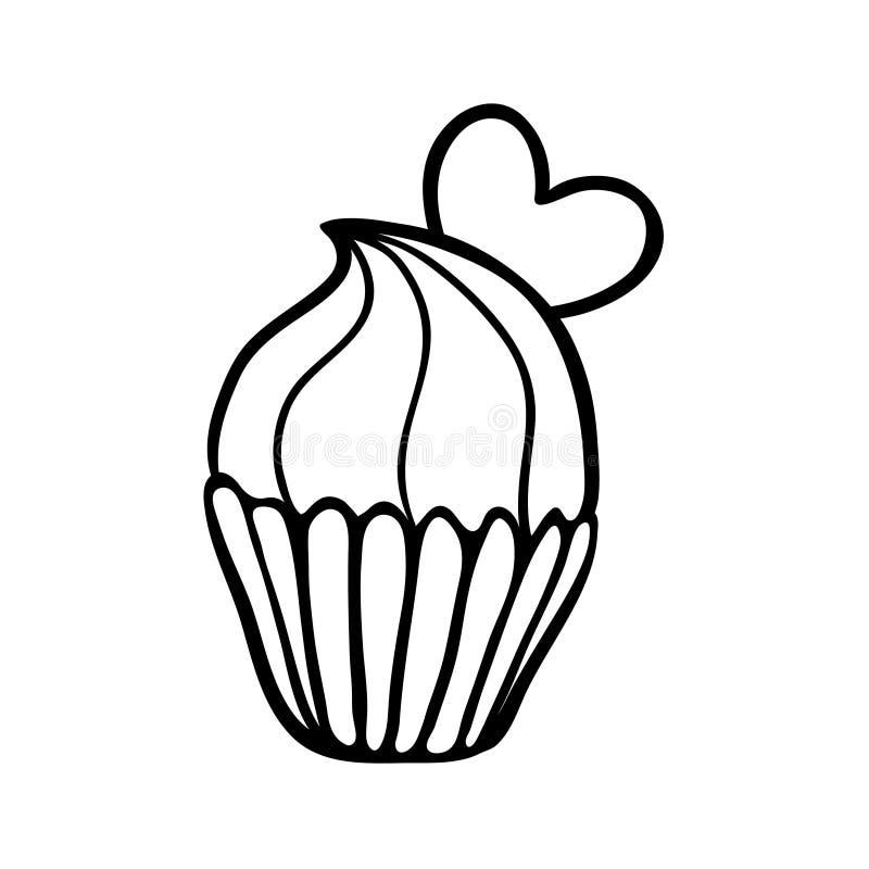 Esboço do queque do Valentim com um coração ilustração stock