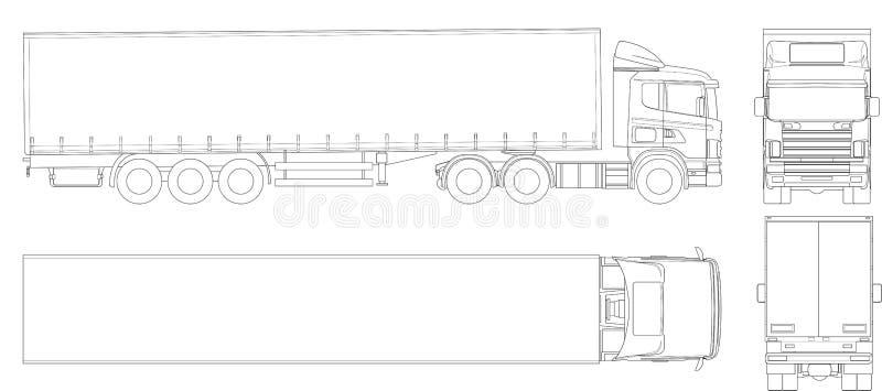Esboço do reboque do caminhão do vetor Veículo comercial Carga que entrega o veículo Vista do lado, parte dianteira, parte trasei ilustração royalty free