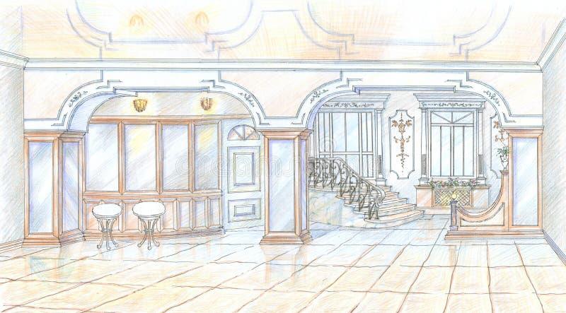 Esboço do restaurante no estilo clássico ilustração royalty free