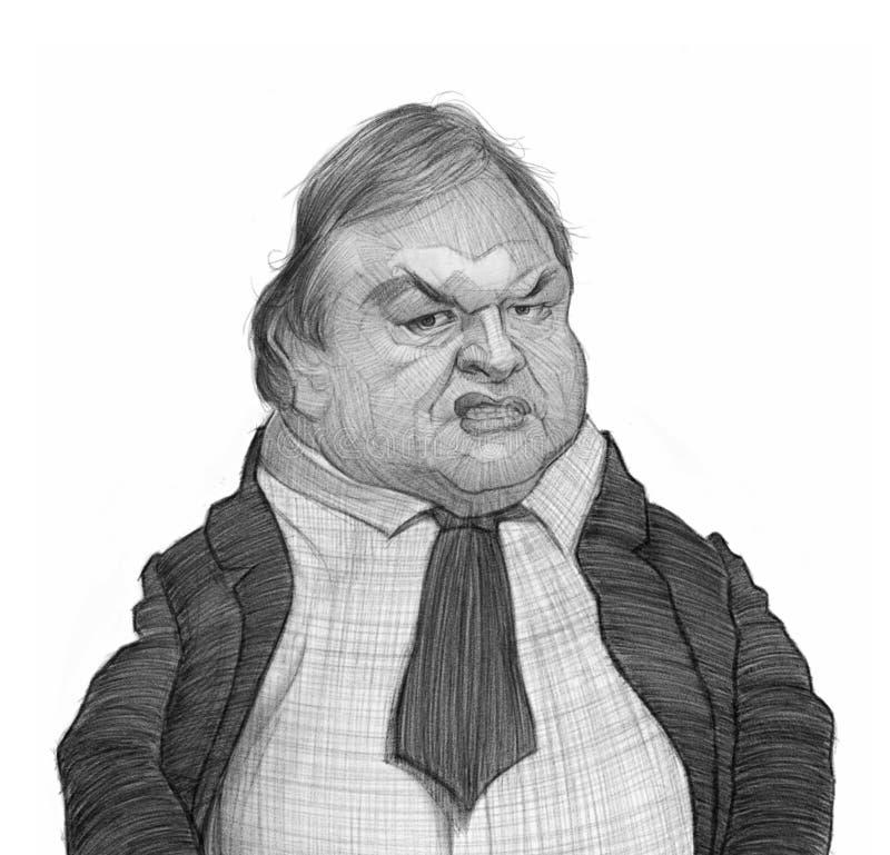Esboço do retrato da caricatura de Evangelos Venizelos ilustração stock