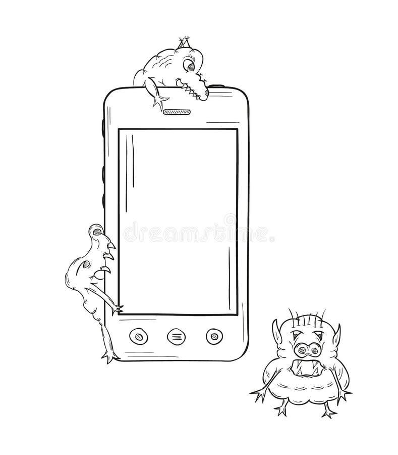 Esboço do smartphone e dos vírus ilustração stock