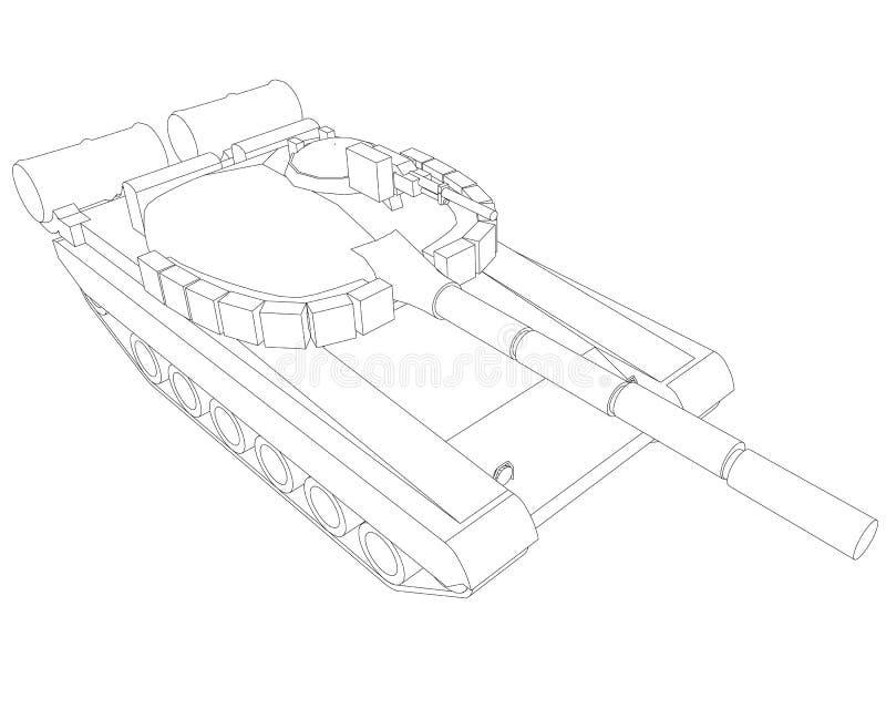 Esboço do tanque de guerra de linhas pretas em um fundo branco Vista isométrica Ilustração do vetor ilustração royalty free
